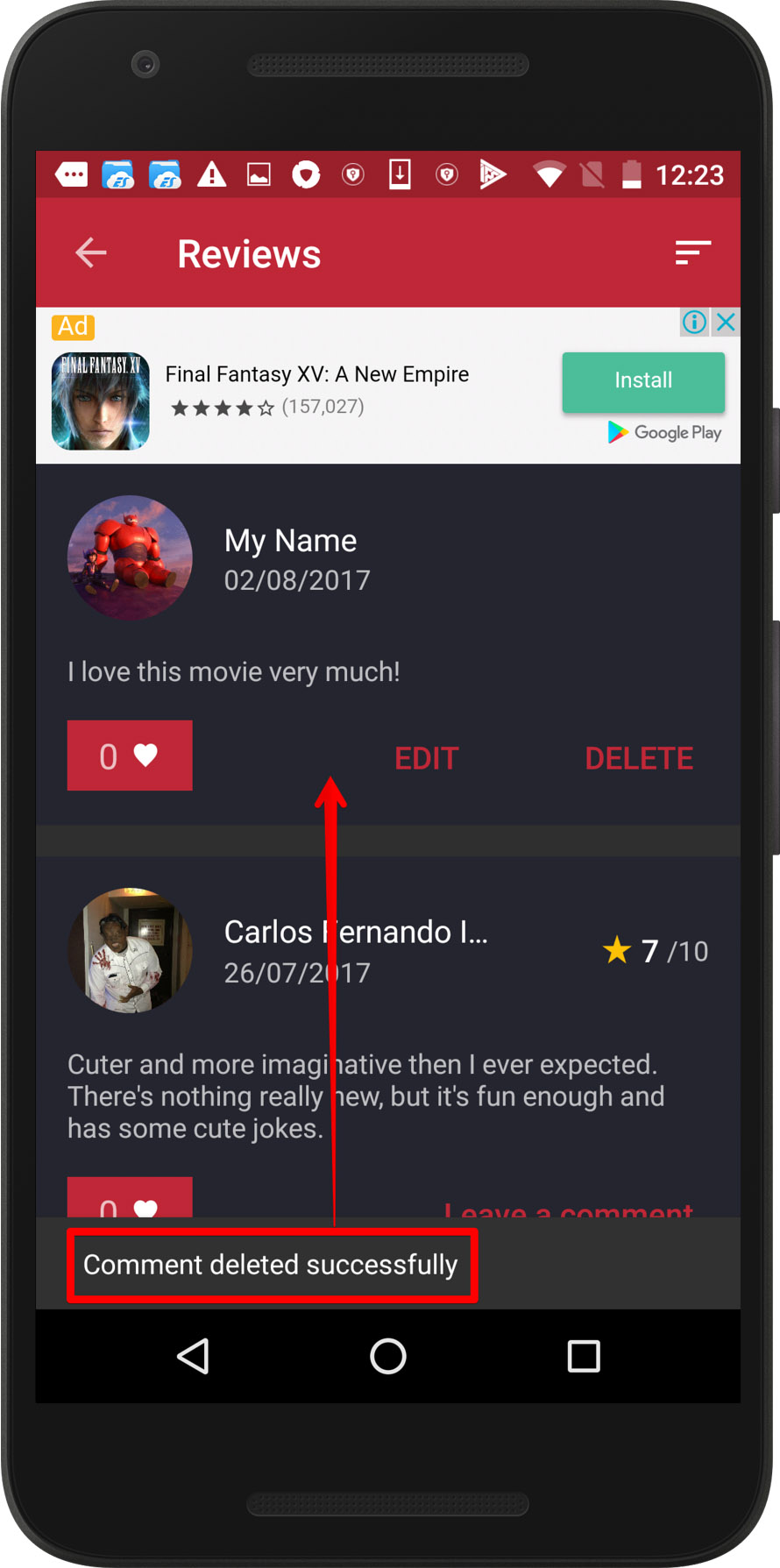 CineTrak app - removing review bug, screen 1 / Weekly bug crawl by QAwerk