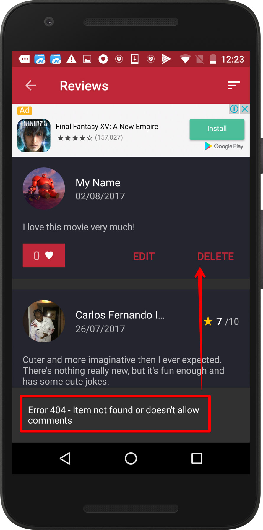 CineTrak app - removing review bug, screen 2 / Weekly bug crawl by QAwerk
