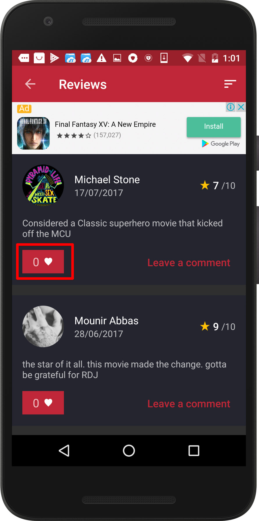 CineTrak app - review can be liked twice, screen 1 / Weekly bug crawl by QAwerk