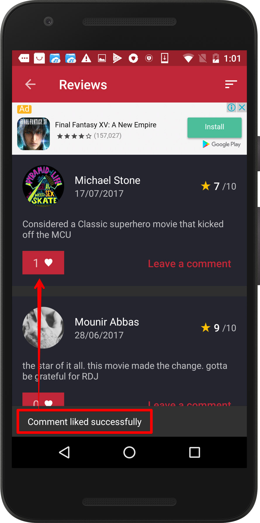 CineTrak app - review can be liked twice, screen 2 / Weekly bug crawl by QAwerk